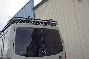 Whitefeather aluminum double loop roof rack with optional LED flood lights.